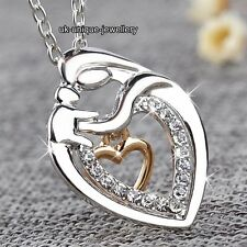 MUM Rose Gold & Silver Heart Necklace - Xmas Gifts For Her Mother Daughter Women