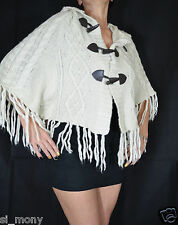 Women Ivory Hooded Cardigan Ponchos Tassels Cable Knit Atmosphere Free Size 8-16