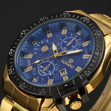 Luxury Men's Date Gold Stainless Steel Military Army Quartz Sport Wrist Watch