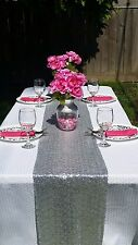 """12""""x108"""" Silver SEQUIN TABLE RUNNER Wedding Party Catering Event Linen"""