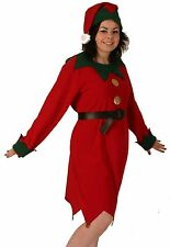Fancy Dress Costume Female Lady Elf Tunic Christmas Santa Helper NEW 12-16 P5537