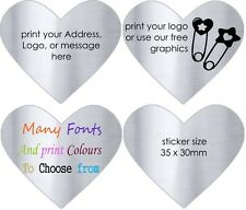 SILVER HEARTS Wedding Favour Labels Personalised Favor Gift Stickers  x 50!