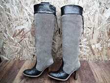 FAITH Knee Length Leather & Suede Pull-on Boots Women's Size UK 5 EUR 38