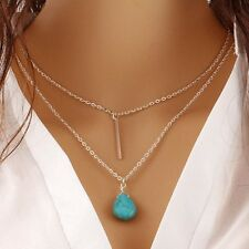 Fashion Women 925 Sterling Silver Turquoise Pendant Necklace Charm Jewelry New
