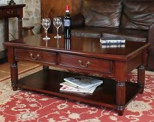 La Roque solid mahogany living room furniture two drawer storage coffee table