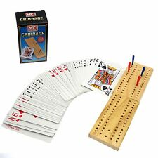 WOODEN CRIBBAGE CRIB BOARD & PLAYING WITH CARDS SET PEGS FAMILY GAME TY7312