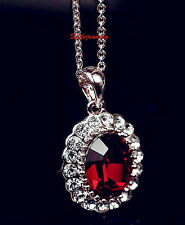 White Gold Filled Swarovski Crystal Red Ruby Birthstone Wedding Necklace N110