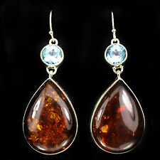 Sterling Silver 925 Genuine Natural Honey Amber Cabochon & Blue Topaz Earrings