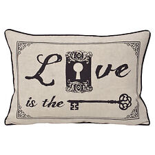 Secret Love Heart Keys & Locks Cushion Cover in Linen Beige & Black - 30x50cm