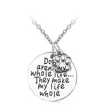 Dog Paw Footprints Pendant Necklace Women Men Charm Vintage Party Silver Plated