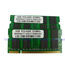 4GB 2 X 2GB PC2-4200 DDR2-533MHZ 200pin Laptop Sodimm NON-ECC Memory Sticks Ram