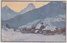 Tolle Künstlerkarte von Hinterstoder im Winter (sign. Fr. Jung) um 1925 ANSEHEN!