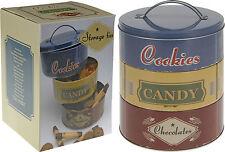 Set of 3 Stacking Biscuit Storage Tins Retro Shabby Chic Cookie Tin Cake Tin