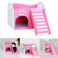 Wooden Bed House Cage Layer For Animal Rat Dwarf Hamster Gerbil Mouse Pink #A