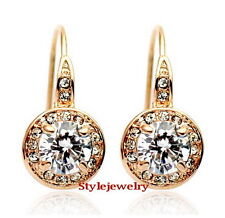 18k Rose Gold Fill Clear Swarovski Crystal Round Drop Dangle Bridal Earring 20E