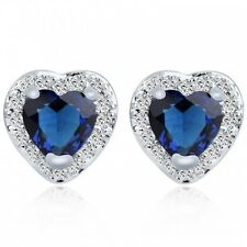 18K WHITE GOLD PLATED SAPPHIRE  & CLEAR GENUINE CUBIC ZIRCONIA  HEART EARRINGS