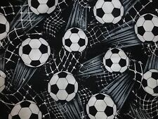 FOOTBALL Fabric Fat Quarter Cotton Craft Quilting Black White Timeless Treasures