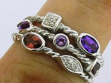 R212- HEAVY 9ct Solid White Gold Natural Amethyst, Garnet & Diamond Ring size M