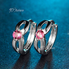 18K WHITE GOLD GF HUGGIES SWAROVSKI CRYSTAL EARRINGS PINK