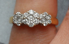 STUNNING 18CT GOLD QUALITY DIAMOND CLUSTER RING 4.2gms- Size M½