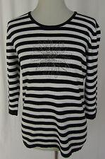GERRY WEBER Ringelpulli Pullover, Pulli Shirt schwarz/weiß mit Besatz Gr. 40