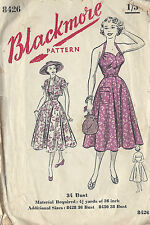 1950s Vintage Sewing Pattern B34 HALTERNECK DRESS & JACKET (R913)