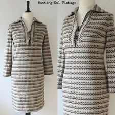 VINTAGE 1970S KNITTED DRESS NORDIC MOD SCOOTER RETRO TOGGLES WINTER BOHO CHIC 12