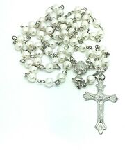 White PEARL RHODIUM/P Holy Communion ROSARY BEADS / NECKLACE Crucifix CHALICE