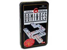 DOMINOES DOUBLE SIX SET Colour Dot Tin container Man Cave