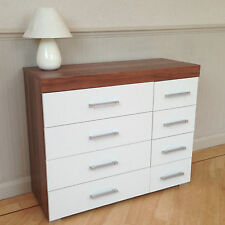 Wide Chest of 4+4 Drawers in White & Walnut Bedroom Furniture 8 Drawer * NEW *