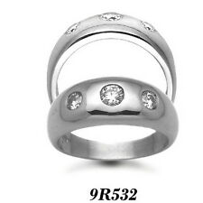 Finest 9 carat White Gold 50pts Gents 3 Stone Diamond Engagement Ring AT/9R532