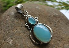 GENUINE CHALCEDONY 925 STERLING SILVER PENDANT WITH GIFT BAG