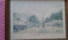* Lithographie * P. Suhr * Der Jungfernstieg in Hamburg um 1830 * Altes Bild *