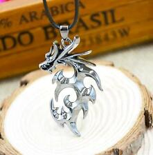 Fashion Men's Silver Stainless Steel Dragon Pendant Necklace With Leather Chain