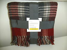 Next Lambswool Stirling Red & Grey Check Throw / Blanket Brand New