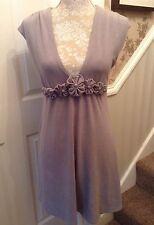APRICOT NWOT  Grey Sleeveless Plunge Neckline Dress Jewelled Flowers Size 12