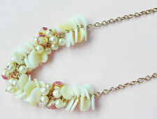 ACCESSORIZE GOLD NECKLACE_MOTHER OF PEARL DISCS, CREAMY PEARLS AND UNUSUAL BEADS