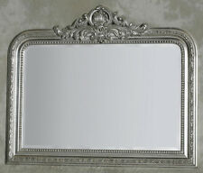 Silver Wood Framed Over Mantle Mirror With Crest Extra Large H 90 x W 104cm