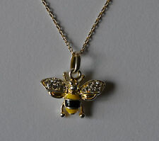 Beautiful 925 Sterling Silver Crystal Yellow Black Enamel Bee Pendant Necklace