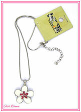ICON BY ANIMAL. VERY PRETTY CREAMY WHITE & PINK FLOWER SILVER PENDANT NECKLACE.