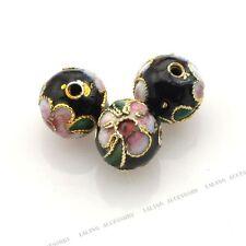 50x Wholesale Black Flower Enamel Cloisonne Spacer Beads Jewelry Findings 8mm BS