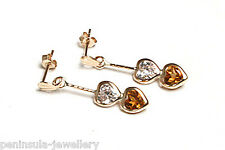 9ct Gold Citrine and CZ Double Heart Drop Earrings Gift Boxed Made In UK