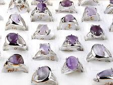 20X Großhandel Groß Amethyst Edelstein Silber Ringe Persönlichkeit Design