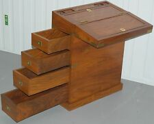 STUNNING ROSEWOOD CAMPAIGN PEDESTAL WITH FOLD OUT WRITING SLOPE FOR LAPTOP DESK