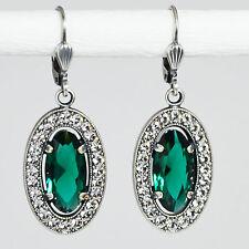 Ohrring Ohrhänger Silber Swarovski Kristall Pavé Oval Vintage retro Emerald grün