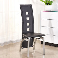 Stylish Modern PU Faux Dining Chair Chrome Legs Black Dining Room Furniture New