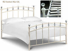 """Sophie Metal Bed Frame  In Cream With Crystal Finials Double 135cm 4'6"""""""