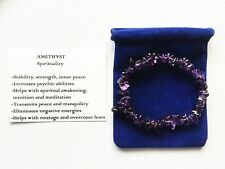 Amethyst Bracelet Gemstone Crystal Chip Beads Stretch 'BUY 3 GET 1 FREE'