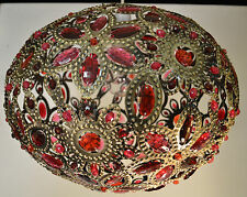 MOROCCAN STYLE VERY LARGE PENDANT LIGHT SHADE PINK RED JEWELLED