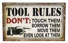 Tool Rules Metal Tin Sign Workshop Man Cave Fathers Day Wall Art Home Decor